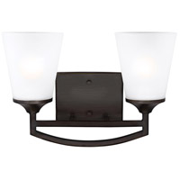 Sea Gull Lighting Hanford 2 Light Wall Bath in Burnt Sienna with Satin Etched Glass 4424502-710