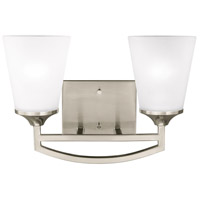 Sea Gull Lighting Hanford 2 Light Wall Bath in Brushed Nickel with Satin Etched Glass 4424502-962