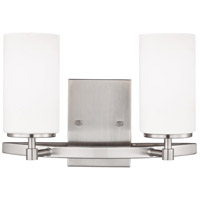 Sea Gull Lighting Alturas 2 Light Wall Bath in Brushed Nickel with Etched White Inside Glass 4424602-962