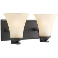 Somerton 2 Light 14 inch Blacksmith Bath Vanity Wall Light in Cafe Tint Glass, Fluorescent