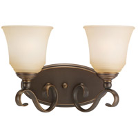 Parkview 2 Light 15 inch Russet Bronze Bath Vanity Wall Light in Ginger Glass