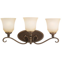 Sea Gull 44381-829 Parkview 3 Light 23 inch Russet Bronze Bath Vanity Wall Light in Ginger Glass photo thumbnail
