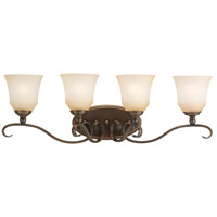 Parkview 4 Light 32 inch Russet Bronze Bath Vanity Wall Light in Ginger Glass