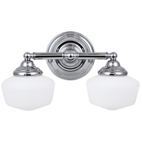 Sea Gull 44437-05 Academy 2 Light 17 inch Chrome Bath Light Wall Light in Standard