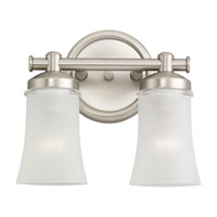 Newport 2 Light 11 inch Antique Brushed Nickel Bath Vanity Wall Light in Fluorescent