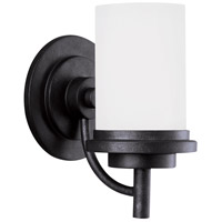 Winnetka 1 Light 6 inch Blacksmith Bath Vanity Wall Light in Satin Etched Glass, Standard