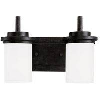 Winnetka 2 Light 14 inch Blacksmith Bath Vanity Wall Light in Satin Etched Glass, Standard