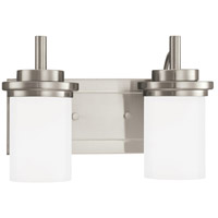 Winnetka 2 Light 14 inch Brushed Nickel Bath Vanity Wall Light in Satin Etched Glass, Fluorescent