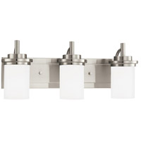 Winnetka 3 Light 23 inch Brushed Nickel Bath Vanity Wall Light in Satin Etched Glass, Fluorescent