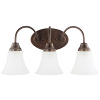 Sea Gull 44807-827 Holman 3 Light 18 inch Bell Metal Bronze Bath Light Wall Light