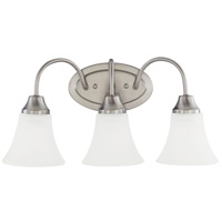 Sea Gull 44807-962 Holman 3 Light 18 inch Brushed Nickel Bath Light Wall Light