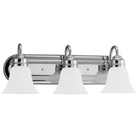 Gladstone 3 Light 24 inch Chrome Bath Vanity Wall Light in Satin Etched Glass