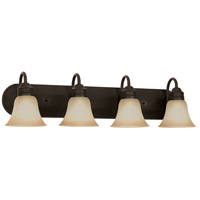 Gladstone 4 Light 33 inch Heirloom Bronze Bath Vanity Wall Light in Smokey Amber Glass