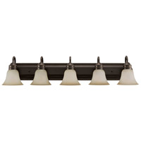 Sea Gull 44854-782 Gladstone 5 Light 41 inch Heirloom Bronze Bath Vanity Wall Light in Smokey Amber Glass