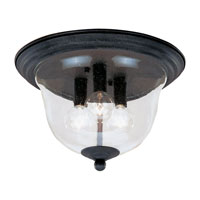 Manor House 3 Light 12 inch Weathered Iron Flush Mount Ceiling Light