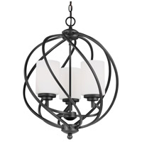 Sea Gull Lighting Goliad 3 Light Hall Foyer in Blacksmith with Etched White Inside Glass 5125203-839