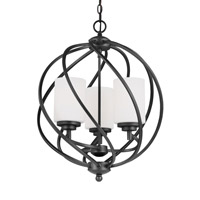 Sea Gull Lighting Goliad 3 Light Hall Foyer in Blacksmith with Etched White Inside Glass 5125203BLE-839