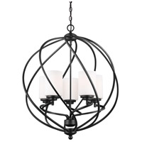Sea Gull Lighting Goliad 5 Light Hall Foyer in Blacksmith with Etched White Inside Glass 5125205-839