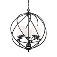 Sea Gull Lighting Goliad 5 Light Hall Foyer in Blacksmith with Etched White Inside Glass 5125205BLE-839