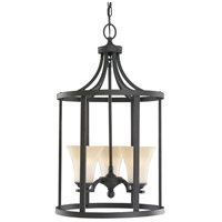 Somerton 3 Light 16 inch Blacksmith Hall/Foyer Pendant Ceiling Light in Cafe Tint Glass, Fluorescent