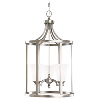 Somerton 3 Light 16 inch Antique Brushed Nickel Hall/Foyer Pendant Ceiling Light in Satin Etched Glass, Fluorescent