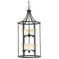 Somerton 6 Light 19 inch Blacksmith Hall/Foyer Pendant Ceiling Light in Cafe Tint Glass, Fluorescent
