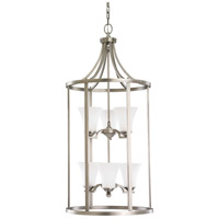 Somerton 6 Light 19 inch Antique Brushed Nickel Hall/Foyer Pendant Ceiling Light in Satin Etched Glass, Fluorescent