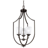 Sea Gull Lighting Hanford 3 Light Hall Foyer in Burnt Sienna with Satin Etched Glass 5224503-710