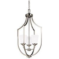 Sea Gull Lighting Hanford 3 Light Hall Foyer in Brushed Nickel with Satin Etched Glass 5224503-962
