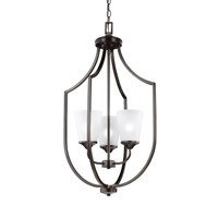 Sea Gull Lighting Hanford 3 Light Hall Foyer in Burnt Sienna with Satin Etched Glass 5224503BLE-710
