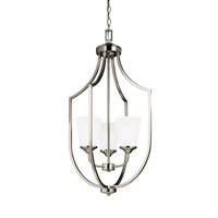 Sea Gull Lighting Hanford 3 Light Hall Foyer in Brushed Nickel with Satin Etched Glass 5224503BLE-962