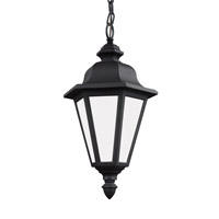 Sea Gull Lighting Brentwood 1 Light Outdoor Pendant in Black with Smooth White Glass 6025BLE-12