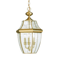 Sea Gull 6039EN-02 Lancaster 3 Light 12 inch Polished Brass Outdoor Pendant