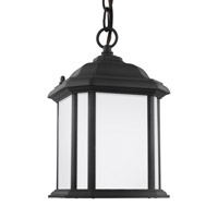 Sea Gull Lighting Kent 1 Light Outdoor Pendant in Black with Satin Etched Glass 60529BLE-12