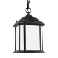 Sea Gull Lighting Kent 1 Light Outdoor Pendant in Oxford Bronze with Satin Etched Glass 60529BLE-746