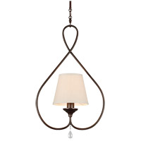 West Town 1 Light 8 inch Burnt Sienna Mini Pendant Ceiling Light in Oatmeal Faux Linen Shade, Fluorescent