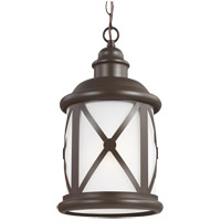 Lakeview 1 Light 8 inch Antique Bronze Outdoor Pendant in Etched Seeded Glass