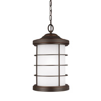 Sea Gull Lighting Sauganash 1 Light Outdoor Pendant in Antique Bronze with Etched Seeded Glass 6224451BLE-71