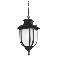 Sea Gull Lighting Childress 1 Light Outdoor Pendant in Black with Satin Etched Glass 6236301-12