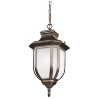 Sea Gull Lighting Childress 1 Light Outdoor Pendant in Antique Bronze with Satin Etched Glass 6236301-71