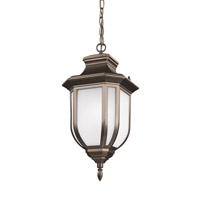 Sea Gull Lighting Childress 1 Light Outdoor Pendant in Antique Bronze with Satin Etched Glass 6236301BLE-71