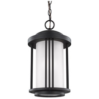 Sea Gull Lighting Crowell 1 Light Outdoor Pendant in Black with Satin Etched Glass 6247901-12