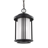 Sea Gull Lighting Crowell 1 Light Outdoor Pendant in Black with Satin Etched Glass 6247901BLE-12