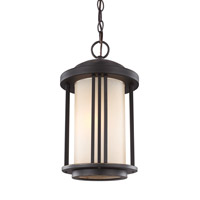 Sea Gull Lighting Crowell 1 Light Outdoor Pendant in Antique Bronze with Creme Parchment Glass 6247901BLE-71