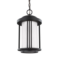 Sea Gull Lighting Crowell LED Outdoor Pendant in Black with Satin Etched Glass 6247991S-12