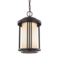 Sea Gull Lighting Crowell LED Outdoor Pendant in Antique Bronze with Creme Parchment Glass 6247991S-71