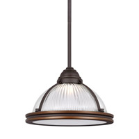 Sea Gull Lighting Pratt Street LED Pendant in Autumn Bronze with Clear Textured Glass 6506091S-715