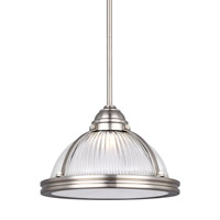 Sea Gull Lighting Pratt Street LED Pendant in Brushed Nickel with Clear Textured Glass 6506091S-962