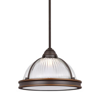 Sea Gull Lighting Pratt Street LED Pendant in Autumn Bronze with Clear Textured Glass 6506191S-715