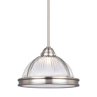 Sea Gull Lighting Pratt Street LED Pendant in Brushed Nickel with Clear Textured Glass 6506191S-962